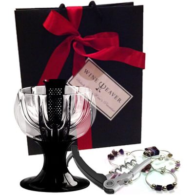 black velvet wine aerator gift bag wine charms and vacu vin corkscrew