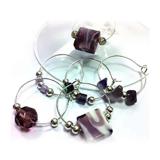 sterling silver purple gem wine glass charms
